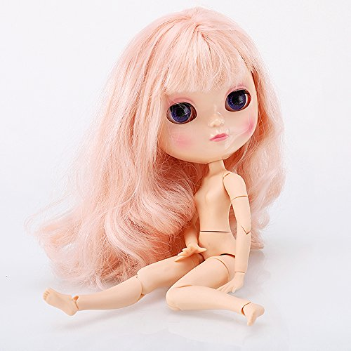 The 12 Inch Nude Doll is Similar to Blyth BJD Doll, Customized ICY Dolls Can Be Changed Makeup and Dress by DIY, Ball Jointed Dolls Best Gifts and Hobby For Girls (light pink)