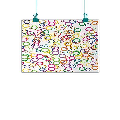 (jiangni Rainbow,Decorative Art Print Circles Rainbow Party Gatherings Spectrum Round Summertime Joy W 28