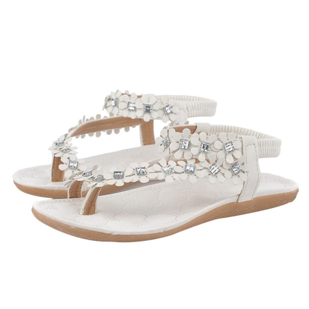 Sanyyanlsy Women Bohemian Flower Diamond Sandals Flip Flop Flat Sandals Elastic Strap Ankle Strap Sandals Casual Date White by Sanyyanlsy