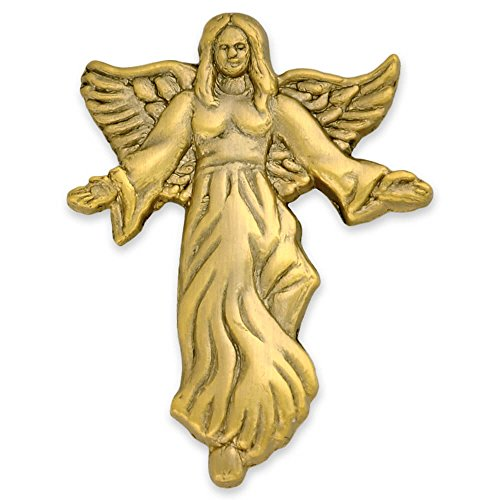 PinMart Antique Gold Angel with Flowing Dress Spiritual Lapel - Lapel Pin Gold Angel