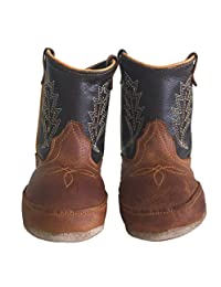 Baby Infant Toddler Cowboy Boots Genuine Leather Western Embroider Coffee