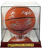 GS Warriors Stephen Curry, Kevin Durant, Draymond Green & Klay Thompson Autographed Basketball w/ Warriors Case (COA)