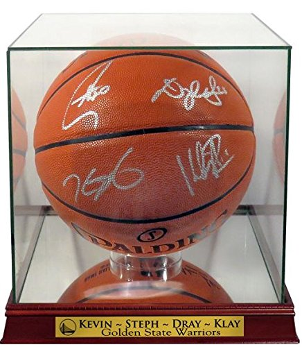 GS Warriors Stephen Curry, Kevin Durant, Draymond Green & Klay Thompson Autographed Basketball w/Warriors Case (COA)