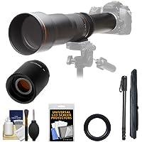 Vivitar 650-1300mm f/8-16 Telephoto Lens (Black) with 2x Teleconverter (=2600mm) + Monopod + Accessory Kit for Digital SLR Cameras