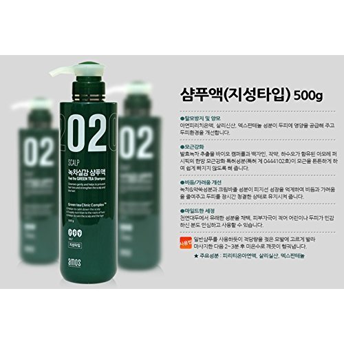 AMOREPACIFIC amos scalp feel the green tea shampoo for oily, made in Korea, Kstyle, anti hair fall 500g