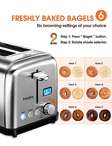 Holife Toaster 2 Slice, Stainless Steel Toaster Bagel Toaster with Digital Display, 6 Shade Settings, Bagel/Defrost/Cancel/Reheat Function, 1.5 inch Extra Wide Slot, 900W