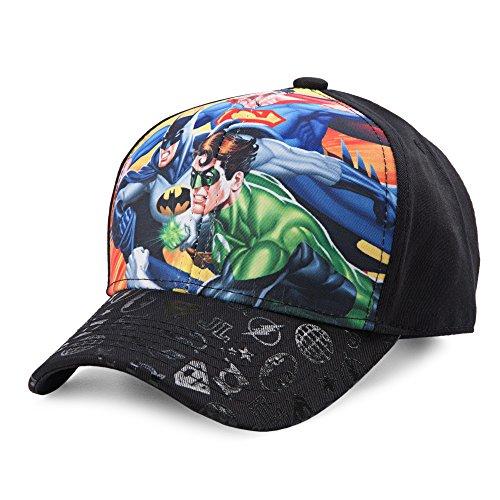 Dc Print Hat (DC Comics Little Boys' Justice League Sublimation Print Hat, Black, One Size)