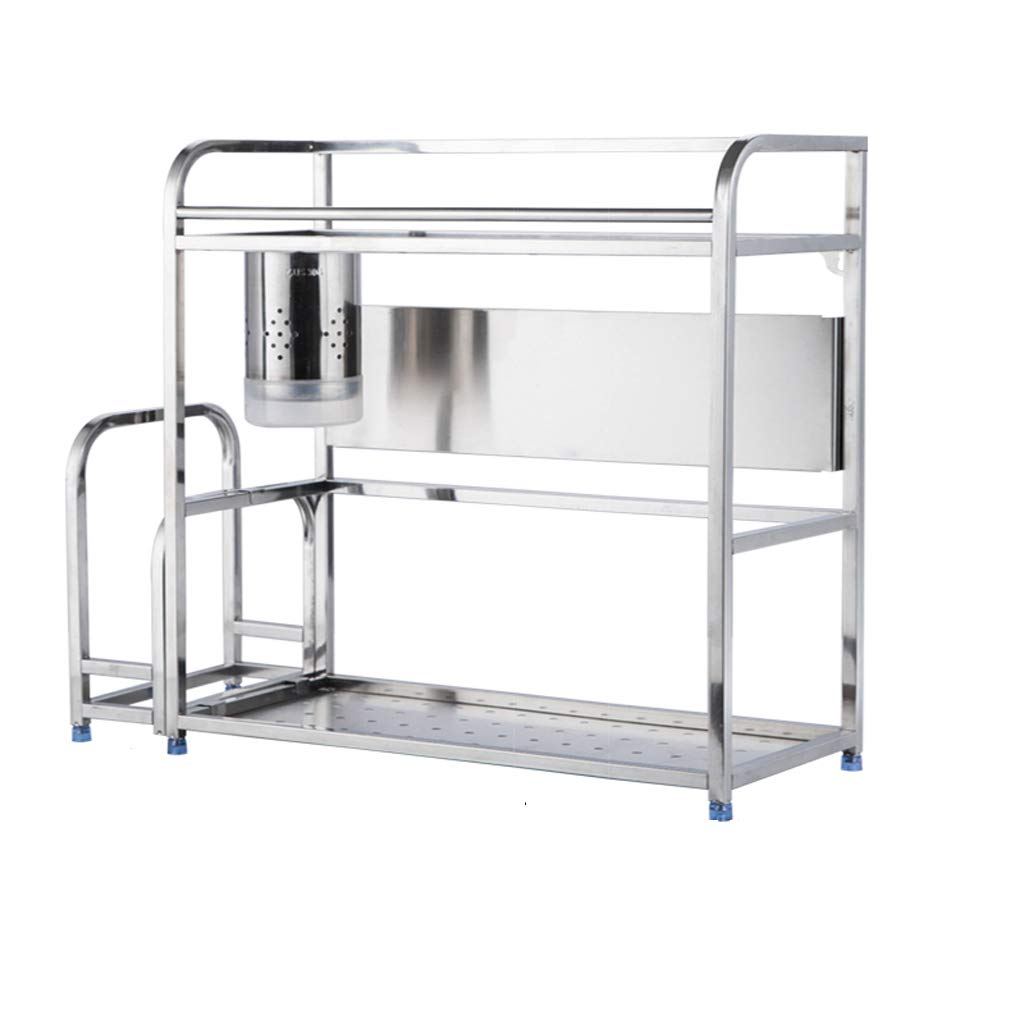 WLNKJ Kitchen Countertop Storage Rack Bracket, Floor-Standing 2-Layer Seasoning Storage Rack, Stainless Steel Multi-Function Kitchen Seasoning Rack - Silver,b,50cm