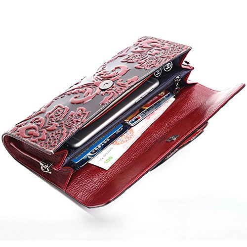 Naisibao Vintage Floral Artisan Leather Handmade Clutch Convertible Crossbody Designer Gift for Women by Naisibao (Image #5)