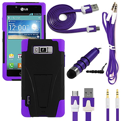 NEWTECK Rugged Impact Proof Dual Layer Shock Resistant Case + Micro USB Data/Charging Cable + Auxiliary Cord & Mini Stylus Bundle for LG Splendor Venice US730 (4 Piece Kit - Kickstand Hybrid Purple)