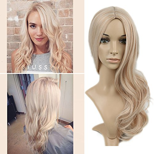 Lady Miranda Blond Mixed Ash Blonde High Density Heat Resistant Synthetic Hair Weave Full Wigs For Women (Blonde&Ash blonde) - Ladies Blonde Wigs