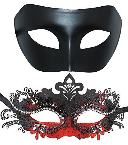 Coddsmz Masquerade Costume Venetian Halloween Costume Mask Mardi Gras Mask 2 Pack Set (Black+Black-Red)