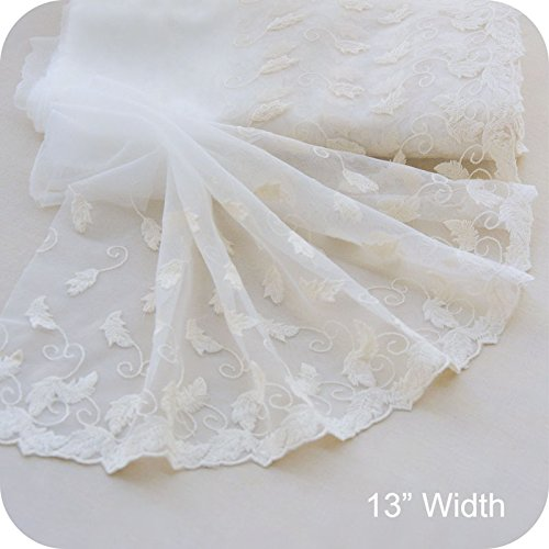 3 Yards Botanical Leaf Embroidery Lace Fabric Trim by the Yard (Off White)