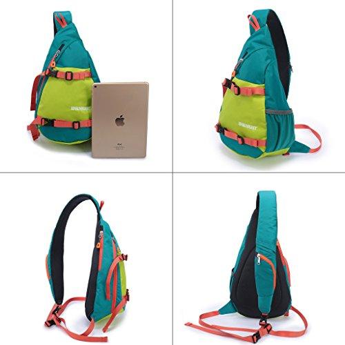 6b4e3e86cf ENKNIGHT Waterproof Chest Bag Casual Sling Bag Unbalance Backpack Hiking  Daypack Green  Amazon.co.uk  Sports   Outdoors