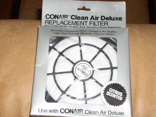 CONAIR Clean Air Deluxe 'Citrus Scented' Replacement Filter Model RP19 (Fits CONAIR Models E3, E3A and Norelco Medel HB1920)