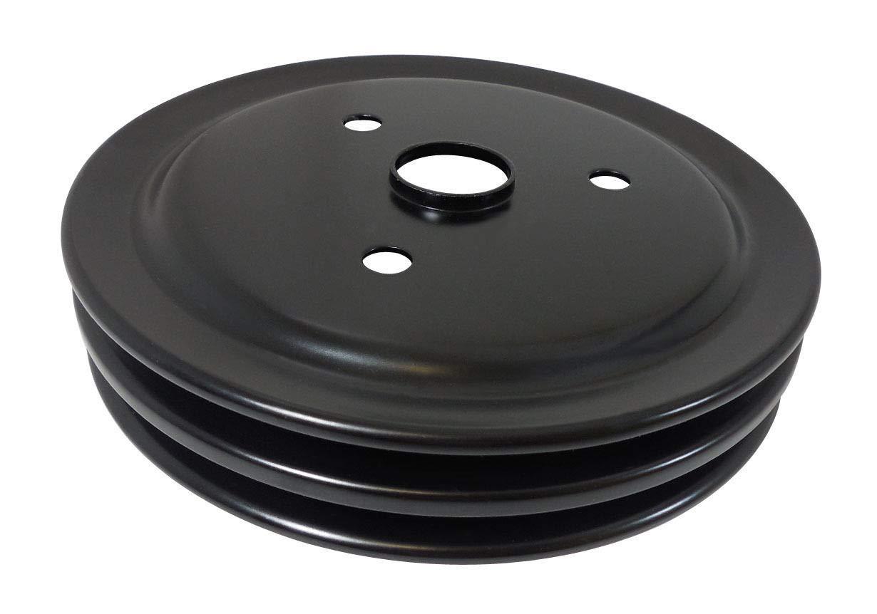Pirate Mfg SBC Chevy 283-350 Black Steel SWP Double Groove Crankshaft Pulley