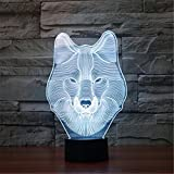 Christmas Valentine Wedding And Birthday Gifts 3D Table Touch Lamp 7 Colorful Color Changing Night Light for Children and Kids Wolf