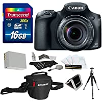 Canon PowerShot SX60 HS Digital Camera + 16GB SDHC Memory Card + NB-10L Battery + Polaroid Shoulder Bag + Mini Tripod + Polaroid Deluxe Accessory Kit Key Pieces Review Image
