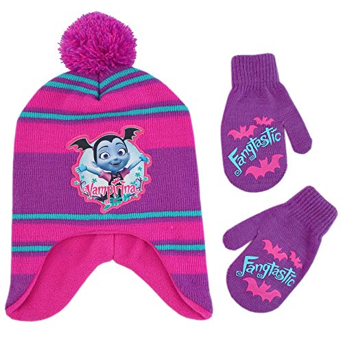 Disney Girls' Toddler Vampirina Hat and Mittens Cold Weather Set, Pink/Purple/Blue, Age 2-4