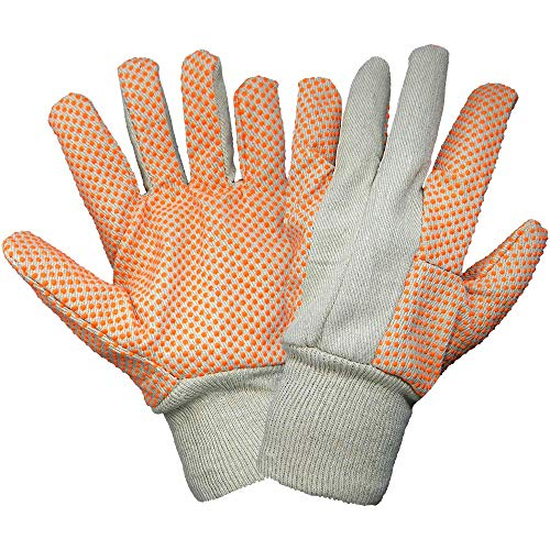 Global Glove C120D1 Cotton Canvas Glove with PVC Dots and Knit Wrist Cuff, Work, Large (Case of 300)