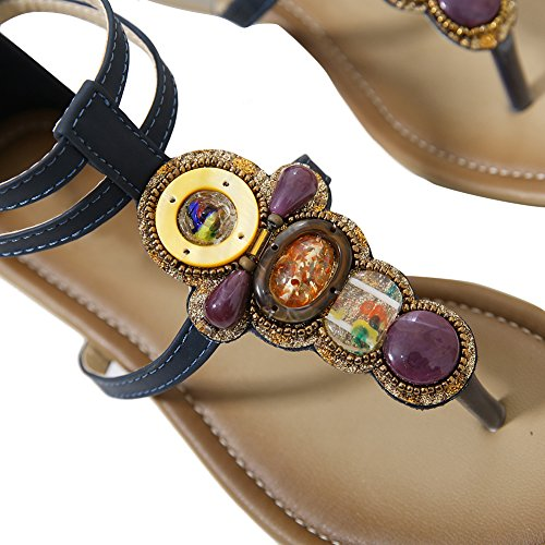 Dearwen Femmes Bohème Glitter Été Sandales Plates T Sangle Tongs Chaussures Bleu