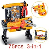 EXERCISE N PLAY 75PCS Workbench Kids Tool Sets Workshop Construction Box Kits,Realistic Children's Educational Play - Best Tool Kit Bench for 0.5-5 Years Toddlers Kids Boys and Girls