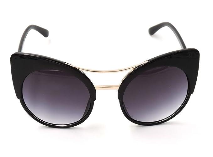 6896bfd31 Fashion Stylish Cat Eye Sunglasses Plastic Frame   Metal Bridge Eyewear ( Black