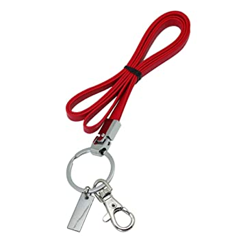 Boshiho - Correa de piel para el cuello con fuerte clip y llavero para llaves, soporte para tarjeta de identificación, USB o teléfono celular, color ...