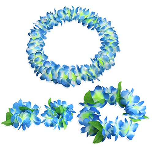 CISMARK Hawaiian Flower Leis Jumbo Necklace Bracelets Headband Set(blue)