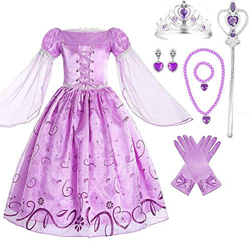 (Girls Rapunzel Deluxe Princess Dress Costume (4-5))