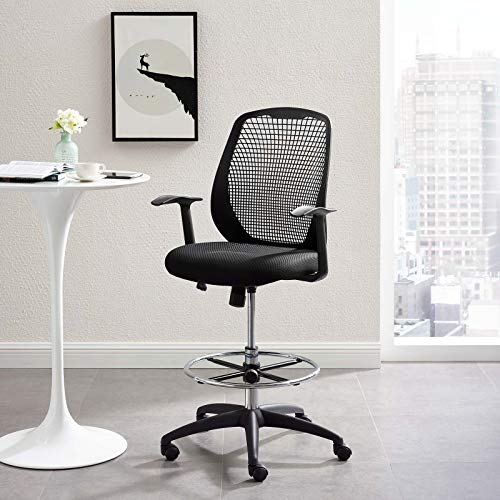 Modway Intrepid Mesh Adjustable Swivel Standing Desk Reception Drafting Chair in Black