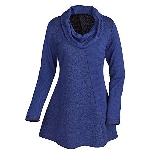 Women's Tunic Top - Textured Cowl Neck Long Sleeve Shirt - Blue - 1X