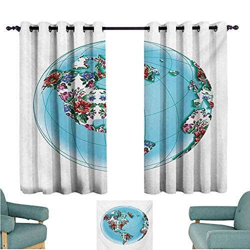 DONEECKL Heat Insulation Curtain Floral World Map Planet Earth Covered by Victorian Style Floral Pattern Flourishing Ecology Tie Up Window Drapes Living Room W63 xL63 Aqua Ruby