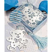 Lovable Teddy Bear Design Bookmark Blue Wedding Baby Shower Favor