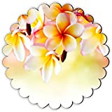 Rikki Knight Frangipani Tropical Spa Flower Design Fancy Round Scallop Shaped Fridge Magnet