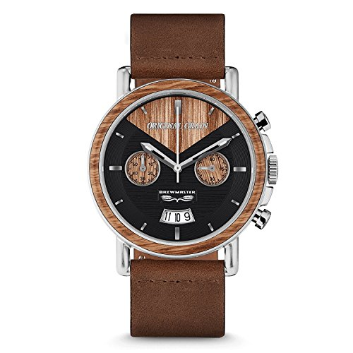 - Original Grain Wood Wrist Watch | Brewmaster Collection 44MM Chronograph Watch | Brown Leather Watch Band | Japanese Quartz Movement | German Oak Beer Barrel Wood Bezel | Stainless Steel Case