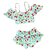 Mingao Little Girls 2 Pieces Cherry Pattern Tankinis Swimear Swimsuit 2-7 Years