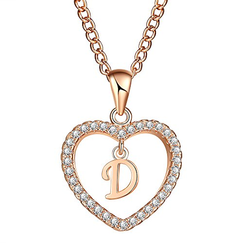 FineMe Initial Heart Necklace Letter A-Z Necklace Heart Love Necklace CZ Cubic Zirconia Pendant for Women (Dangling Heart Pendant)