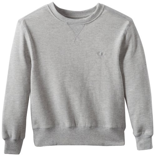 Champion Big Boys' Authentic Fleece Crew, Oxford Grey Heather, Medium
