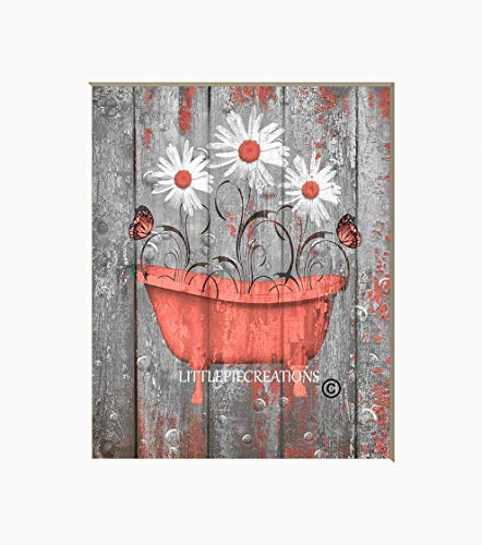 Coral Grey Rustic Bathroom Wall Art, Daisy Flowers, Butterflies Farmhouse Decor, Matted 5x7, 8x10, 11x14 Home Decor Picture (Coral Decor Wall Bathroom)