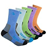 YUEDGE Women's Ladies Crew Cotton Colorful Soft and Breathable Cushioned Performance Wicking Casual Dress Socks