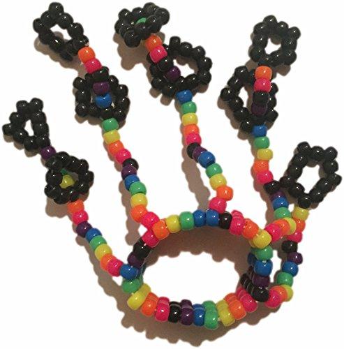Rainbow Kandi Fingerlets Bead, Rave Wear for Music Festivals