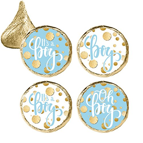 Boy Candy Wrappers (Blue and Gold It's a Boy Baby Shower Favor Stickers (324 Count))