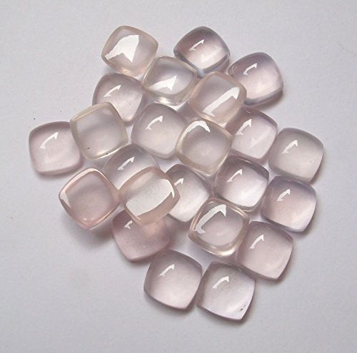 Natural Rose Quartz 8mm 50 Pieces Cushion Cabochon Top Quality Pink Color Gemstone Wholesale Lot for Sale