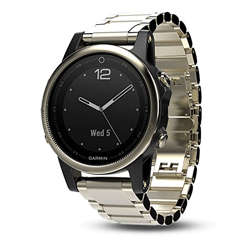 Garmin fenix 5S Sapphire (Champagne with Metal Band) GIFT BOX | Bundle includes Extra Band (Black), Screen Protector, PlayBetter USB Car/Wall Adapters, Protective Case | Multi-Sport Fitness GPS Watch by PlayBetter (Image #2)