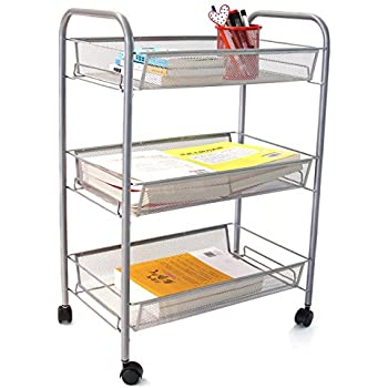 ESYLIFE 3 Tier Metal Mesh Rolling Cart Utility Cart Kitchen Storage Cart On  Wheels, Sliver