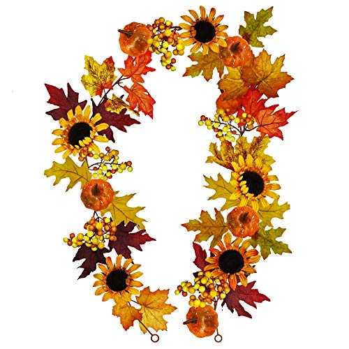 Winlyn 6 feet Long Fake Fall Maple Leaf Berries Sunflower Pumpkin Garland Hanging Vine Artificial Autumn Decoration for Wedding Party Thanksgiving Dinner Fireplace Door Frame Doorway Backdrop Decor by Winlyn