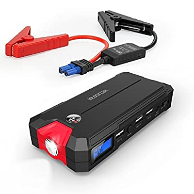 Intociruit Compact Car Jump Starter and Power Bank with 400A Peak Current / 3 USB Charging Ports, can Rejuvenate 3L Gas or 2.5L Diesel Vehicle over 20 Times