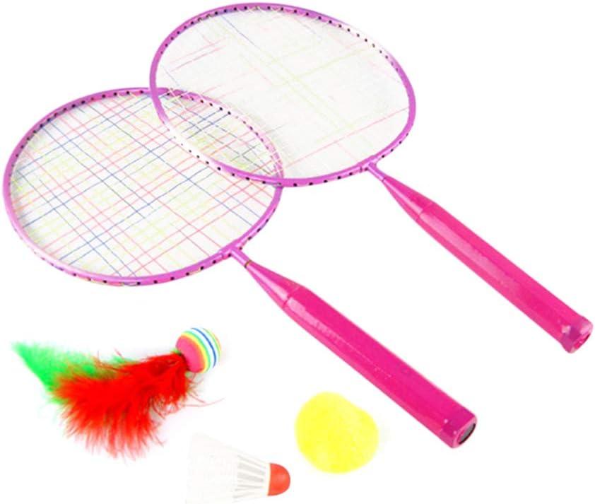 Garneck Badmintonschl/äger Badminton Set Kinder Federball Farbig Schl/äger Freizeitspielzeug Kinder Spielen Badminton Spielzeug f/ür Anf/änger Kinder Rosa