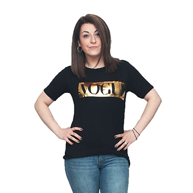 SendIt4Me Camiseta con el Logotipo de la Vogue de Oro: Amazon.es: Ropa y accesorios